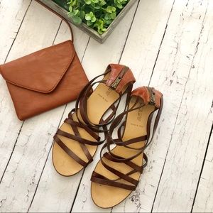 J Crew Strappy Brown Leather Sandals